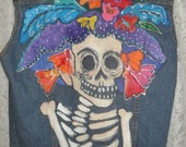 RESERVE  SOLD hand Painted Day Of The Dead Skull Denim Vest womens sz MED