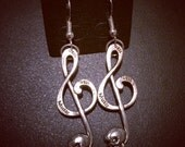 Large Treble Clef Skull Earrings Tibetan Silver with 925 Sterling Silver Hooks