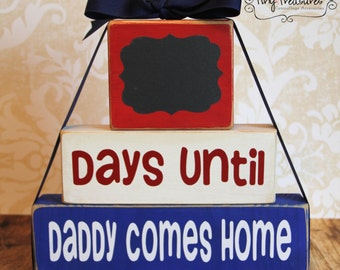 Daddy Countdown Wooden Blocks: Days until Daddy Comes Home