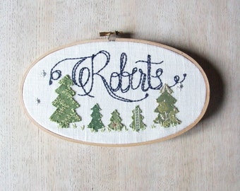 Family Tree Personalized Embroidery Hoop Wall Art Woodland Name Sign on Linen
