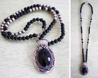 SALE Vintage Southwestern Silver Onyx Beaded Necklace / by Les Baker SALE