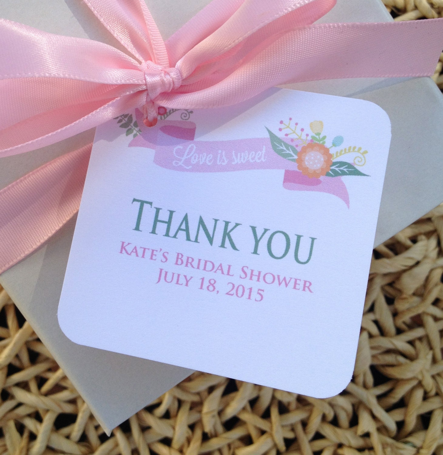 Bridal Shower Favor Tags Love is Sweet Bridal by Oohlalovely