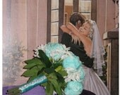 New Spa Bridal Bouquet & Boutonniere, 2 Piece Spa Wedding Bouquet, Custom made to Order