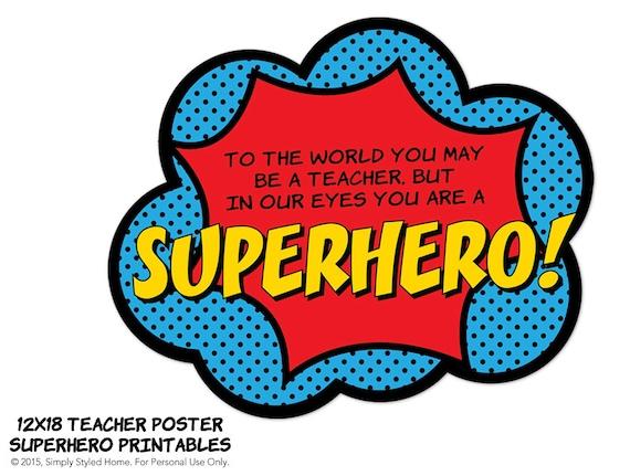 Halloween classroom door decorations ideas - Poster Superhero Teacher Appreciation Door Decoration Printable