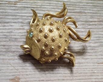 Vintage FISH Perfume Locket Pin Brooch, Vintage Fuller Brush Fish,Solid Perfume Holder