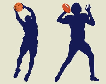 Wall decals - vinyl wall decal - football decal - basketball decal -