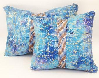 Tie pillows + batik pillows = unique throw pillows, bohemian decorative pillows in blue & lavender with gold accent