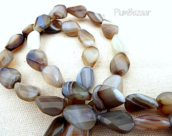 Faceted teardrop shape agate beads, 16 inch strand of 18mm beads