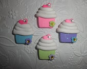 Polymer Clay Cute Little Cupcake Bow Center,Pin,Magnet ( Listing for one cupcake)