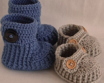 Crochet baby booties, baby shoes, gift set, for newborn, 0 to 3 month or 3 to 6 months- CHOOSE your SIZE
