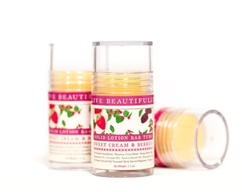Sweet Cream & Berries Lotion Bar - Warm Vanilla, Strawberry, and Blackberry - All Natural Lotion Bar Tube