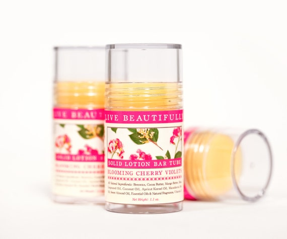 Blooming Cherry Violets Lotion Bar - Sweet Flowers, Crisp Fruit, and Dark Tones - All Natural Lotion Bar Tube