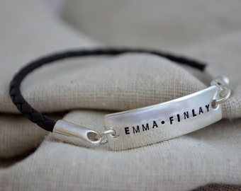 Double Sided Simple Bracelet - Sterling Silver - Personalize - Leather