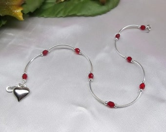 Girls Anklet Red Anklet Crystal Ruby Anklet Toddler Anklet Baby Anklet Heart Anklet 100% 925 Sterling Silver or Plate BuyAny3+Get1 Free
