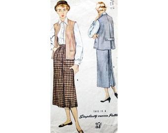 Fifties Pattern, Three Piece Suit, Simplicity 8231, Long Pencil Skirt, Vintage Vest, 50s Top, Vest With Back Pleat, Vintage Pattern