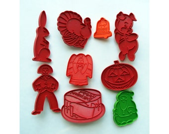 Holiday Cookie Cutters Plastic Nine Cutters