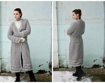 Hand knitting coat, gray Long Coat, Hand Knit Cardigan, Womens Wool Coat, Soft Winter Jacket, Chunky Sweater READY TO SHIP