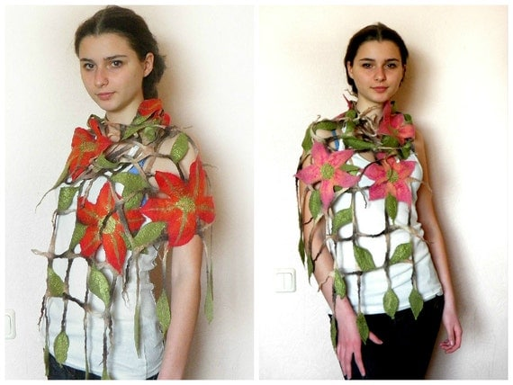 Grid felted scarf ,Mesh scarf , floral scarf,  Felted scarf