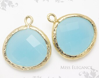 2pcs Sky Blue Jade Fancy Rose Cut Glass Stone Gem Stone Pendants Gold Plated Over Brass Unique Jewelry Findings  //  13mm x 14mm // G9003-GG
