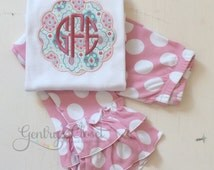 Cute monogrammed Spring shirt. Girls boutique shirt with monogram. Pink monogrammed baby clothes. Girls tshirt with monogram. Baby shower.