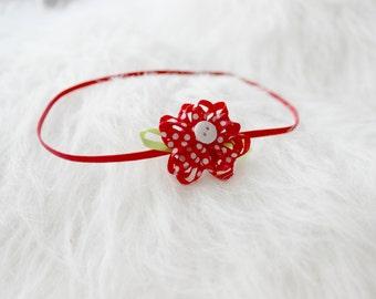 Newborn Photography Prop, skinny elastic headband in red, baby photo prop, baby shower gift, baby girl skinny elastic flower headband