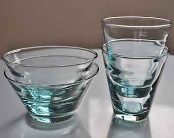 Vintage Libbey Saturn Ripple Optic Aqua Juice Glasses and RARE Dessert Fruit Bowls 2 Each Freda Diamond Mid Century