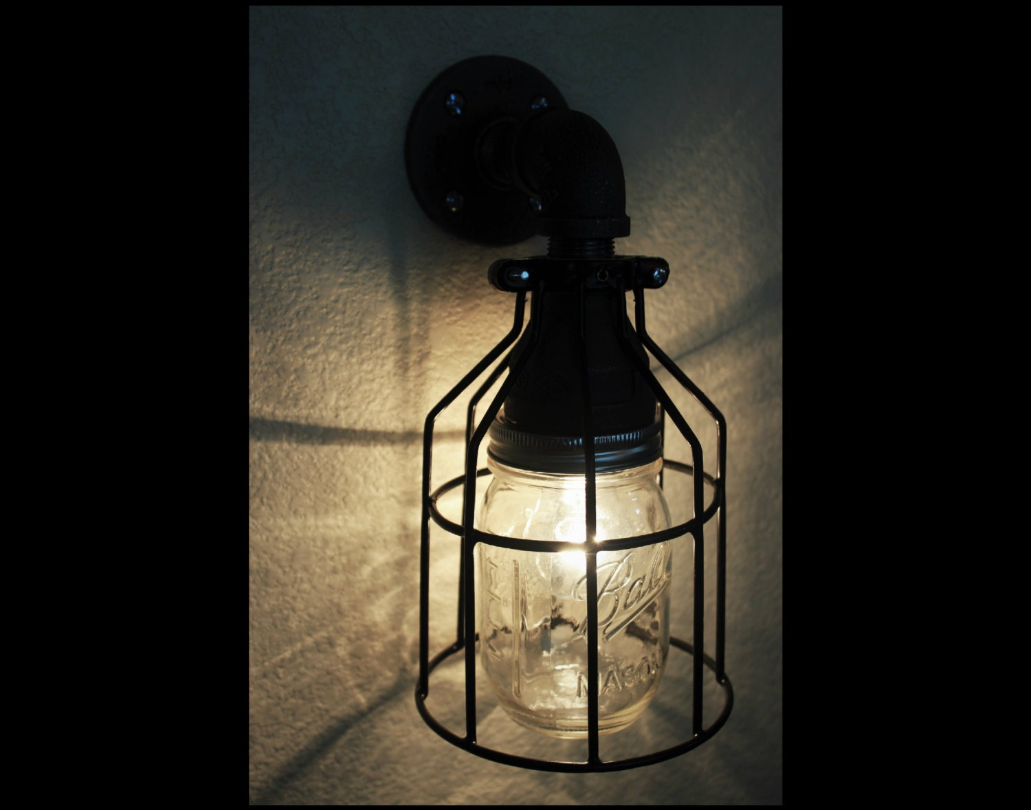 Industrial Pipe Wall Sconce Mason Jar w/ Cage Light Black
