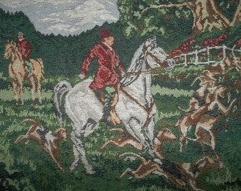 "Cotton Tapestry Panel  Hunt Scene...Equestrian...Pillow....Tote....17"" Square"