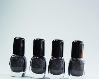 Nail Polish Winter Grey Gray  silver glitter Vegan nails 3 free indie nail polish