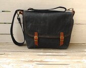 UNİSEX Black Waxed Canvas Messenger Bag Single Cotton Strap Shoulder bag / Cross Body Messenger