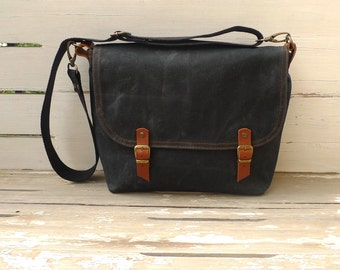 Free Express Shipping  Black Waxed Canvas Messenger Bag Single Cotton Strap Shoulder bag / Cross Body Messenger
