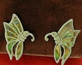 Vintage Pr ABALONE BUTTERFLY EARRINGS Set in Sterling Silver 925 Mexico. Screw Back, Hallmarks, Excellent Condition, Free Shipping !