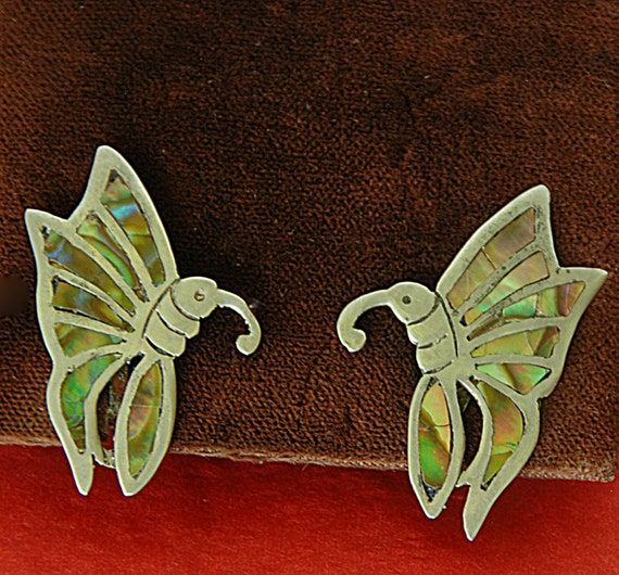 Reduced: Vintage Pr ABALONE BUTTERFLY EARRINGS Set in Sterling Silver 925 Mexico Screw Back, Hallmarks, Excellent Condition