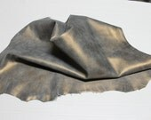Italian thick goatskin leather skins hides vtg OLD GOLD CRACKED distressed 7sqf