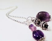 Amethyst Triple Charm Chain Necklace