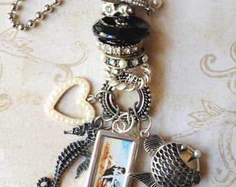 Industrial Chic Art-i-Cake Mixed Media Altered Art Steampunk Stacked Charm Necklace Mermaid Fish Heart Seahorse Heart Pearls Jewelry