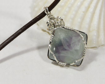 Natural Fluorite Gemstone Wire Wrapped Pendant. Geometric Pendant