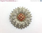 25% OFF, Gorgeous Rare Antique Edwardian Art Deco Rhinestone Flower Brooch, Silver Pot Metal Paste Stones.