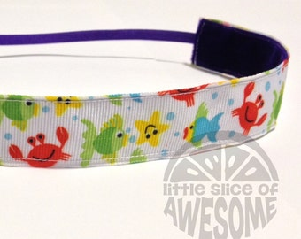 NOODLE HUGGER Non slip ribbon headband - Under the sea - 7/8 inch (running, working out, everyday: women and girls)