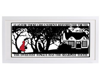 Red Riding Hoods Folly Signed and Framed Papercut Print • Little Red Riding Hood • Fairytale Wall Art • Paper Cut Quote
