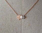 Rose Gold Puzzle Necklace, Dainty Necklace, Rose Gold and Silver Puzzle Necklace