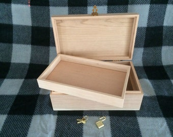 Unfinished Wood Box with Hinges,Lock &Tray-10x6 x 3 3/4-unfinished wood box-ready to finish-engravable wood box-personalized laser engraving