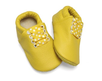 Lambswool lined sunshine yellow soft sole leather baby and children's shoes, slippers, booties, crib shoes