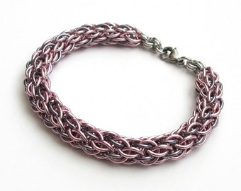 Pale pink and gray chainmaille bracelet, candy cane cord weave