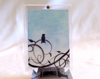 One Of A Kind - ACEO - Bird On A Wire - Blue Painting - Original Watercolor - Bird Art - Small Painting - Framed Art - Swirls - Tiny Art