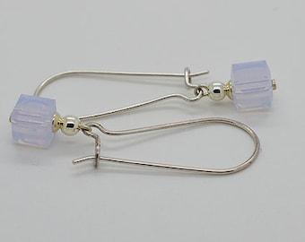 Violet Opal Cube Sterling Silver Kidney Wire Earrings