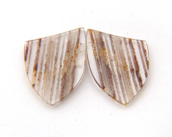 Zebra Quartz Designer Cabochon Gemstone Pair 23.7x28.3x3.9 mm Free Shipping