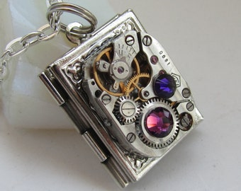 Steampunk book locket necklace watch movement Swarovski crystals women gift ideas photo locket picture locket necklace purple and royal blue