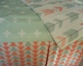 Crib Skirt 15''  /  Crib skirt Fully Lined  any One Print Coral Mint Triangle or Woodland Fabric