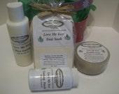 Love My Feet Gift Basket – Scrubbie Soap, 4 oz Mint Lotion, 3 Foot Soak Tea Bags, 1 1/2 oz Cooling Foot Powder – Gift, Foot Care Gift